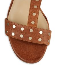 424 Fifth - Brown Letha Leather Studded Sandals - Lyst