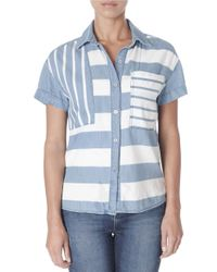Kensie | Multicolor Striped Button-front Shirt | Lyst