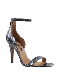 Kay Unger | Metallic Mandie Snakeskin Ankle-strap Sandals | Lyst