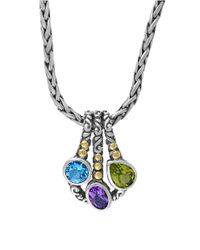Effy | Metallic Semi-precious, Multi-stone, Sterling Silver And 18k Yellow Gold Pendant Necklace | Lyst