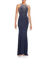 Xscape | Blue Embellished Open-back Dress | Lyst