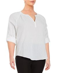 Lord & Taylor | White Plus Cotton Slit-neck Top | Lyst