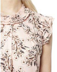 Miss Selfridge - Natural Floral-print Ruffled Sleeveless Top - Lyst