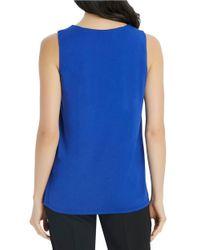 Ellen Tracy - Blue Asymmetrically Draped Keyhole Top - Lyst
