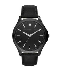Armani Exchange | Mens Diamond Accent Black Leather Strap Watch 46mm, Ax2171 for Men | Lyst