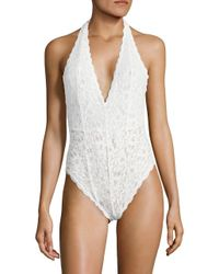 Free People - White Lace Halter Bodysuit - Lyst