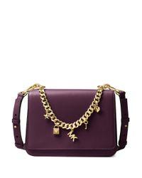 MICHAEL Michael Kors | Purple Metallic Charm Leather Shoulder Bag | Lyst