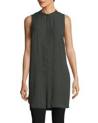 Lord & Taylor | Green Sleeveless Button Front Tunic | Lyst