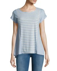 Jones New York - Blue Seamed Sharkbite Top - Lyst