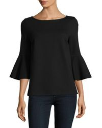 Lord & Taylor | Black Knit Bell-sleeve Top | Lyst