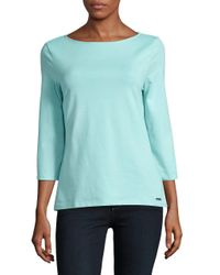 Isaac Mizrahi New York | Blue Boatneck Stretch-cotton Top | Lyst