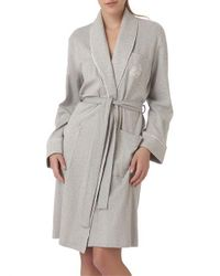 Lauren by Ralph Lauren - Gray The Hartford Robe With Quilted Collar And Cuffs - Lyst