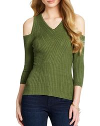 5739aed3a26 Jessica Simpson Cold-shoulder Sweater in Green - Lyst