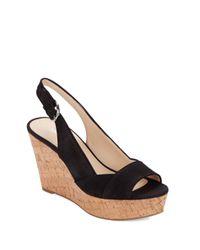 Nine West - Black Caballo Leather Platform Wedge Sandals - Lyst
