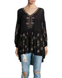 ce6e8f5c3a0 Free People The Arianna Embroidered Tunic in Black - Lyst