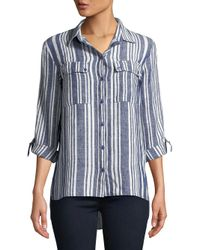 Jones New York - Blue Graphic Linen Button-down Shirt - Lyst