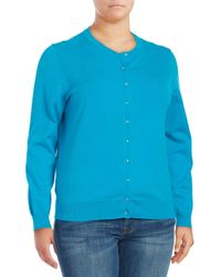 Lord & Taylor - Green Roundneck Long Sleeved Cardigan - Lyst