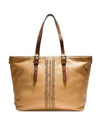 Cole Haan - Multicolor Loralie Whipstitch Top Zip Leather Tote - Lyst