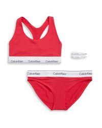 CALVIN KLEIN 205W39NYC - Red Modern Cotton Bralette, Bikini Panties And Hair Ties Set - Lyst