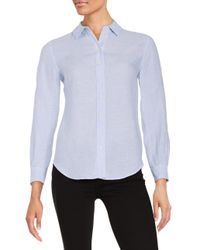 Lord & Taylor - Blue Petite Linen Blouse - Lyst