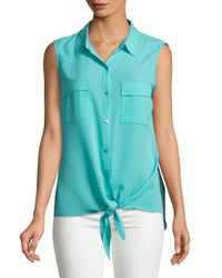 Jones New York - Blue Sleeveless Tie Front Blouse - Lyst