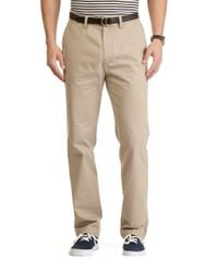 Nautica - Natural Flat-front Cotton Twill Pants for Men - Lyst