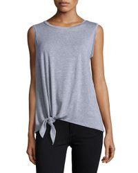 Lord & Taylor | Gray Tie-accented Knit Top | Lyst