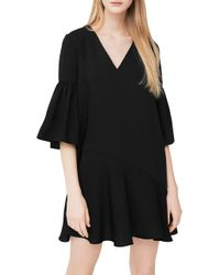 Mango - Black Ruffled Dress - Lyst