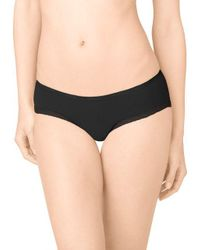 Calvin Klein - Black Lace-trimmed Stretch Hipster Panties - Lyst