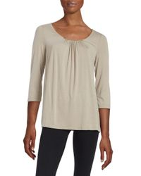 Lord & Taylor   Multicolor Petite Shirred Neckline Blouse   Lyst