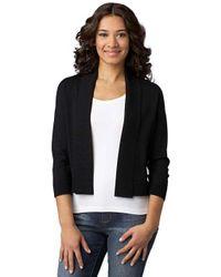 Calvin Klein - Black Plus Three Quarter Sleeve Shawl Sweater - Lyst