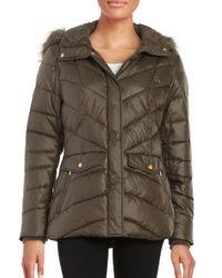 Jones New York - Multicolor Faux Fur-trimmed Puffer Coat - Lyst