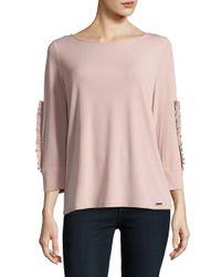 Ivanka Trump - Pink Ruffle Sleeve T-shirt - Lyst