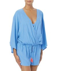 Vince Camuto - Blue Drawstring Coverup Romper - Lyst