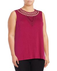 Lord & Taylor - Red Embellished Sleeveless Top - Lyst