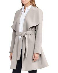Lauren by Ralph Lauren - Gray Crepe Open Front Coat - Lyst