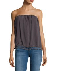 Lamade - Gray Strapless Tassel-accented Top - Lyst