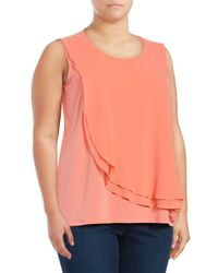 Calvin Klein - Orange Plus Asymmetrical Overlay Top - Lyst