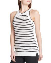 Calvin Klein - Black Striped Halter Sweater - Lyst