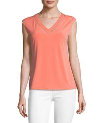 Calvin Klein - Pink Beaded Cutout V-neck Blouse - Lyst