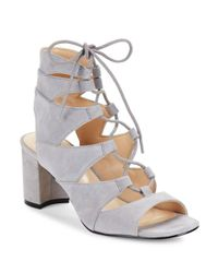 Nine West | Gray Take It Up Suede Sandals | Lyst