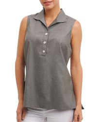 Foxcroft - Green Dani Sleeveless Cotton Top - Lyst