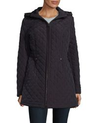 Laundry by Shelli Segal | Black Faux Fur-trimmed Quilted Jacket | Lyst