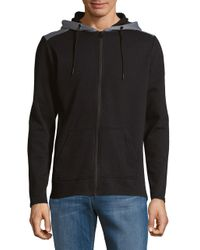 Only & Sons - Black Heathered Zip-front Hoodie for Men - Lyst