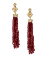 Lord & Taylor | Red Beaded Tassel Earrings | Lyst