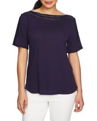 Chaus - Blue Mosaic Blossoms Trimmed Top - Lyst