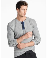 Lucky Brand - Gray Lived In Thermal Henley for Men - Lyst