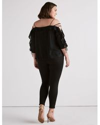 Lucky Brand Black Cold Shoulder Kelly Top