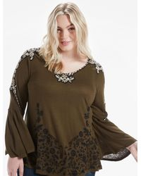 Lucky Brand - Green Embroidered Bell Sleeve Top - Lyst