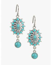 Lucky Brand | Metallic Turquoise Blossom Earring | Lyst